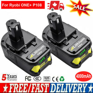 2X-4000mAh-18V-Rechargeable-Battery-For-Ryobi-One-P108-P107-P106-Power-Tool-CA