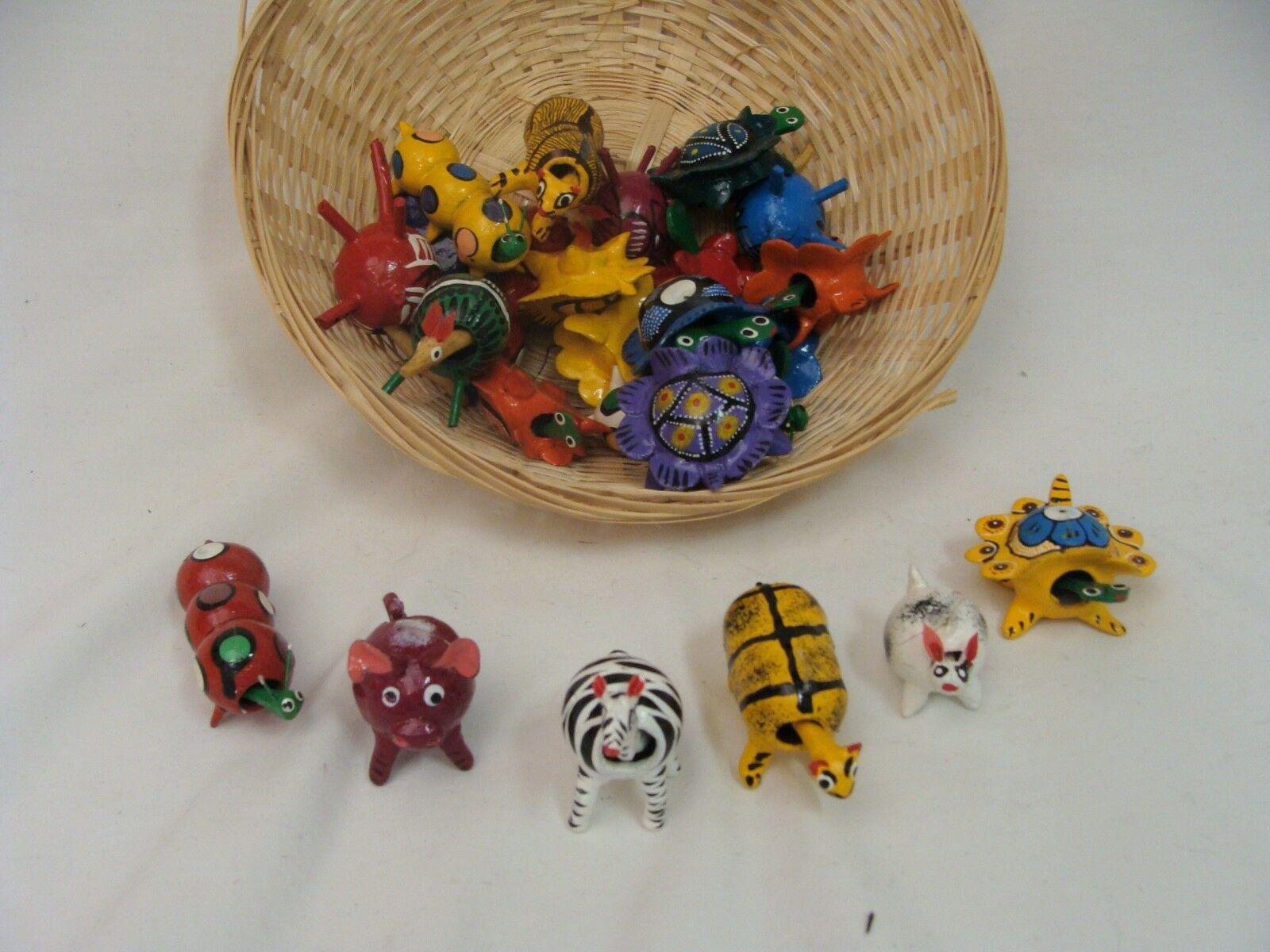 Wholesale 12 Pack Wood Bobble Head Animal Assorted Fair Trade Mexico Lot Collect