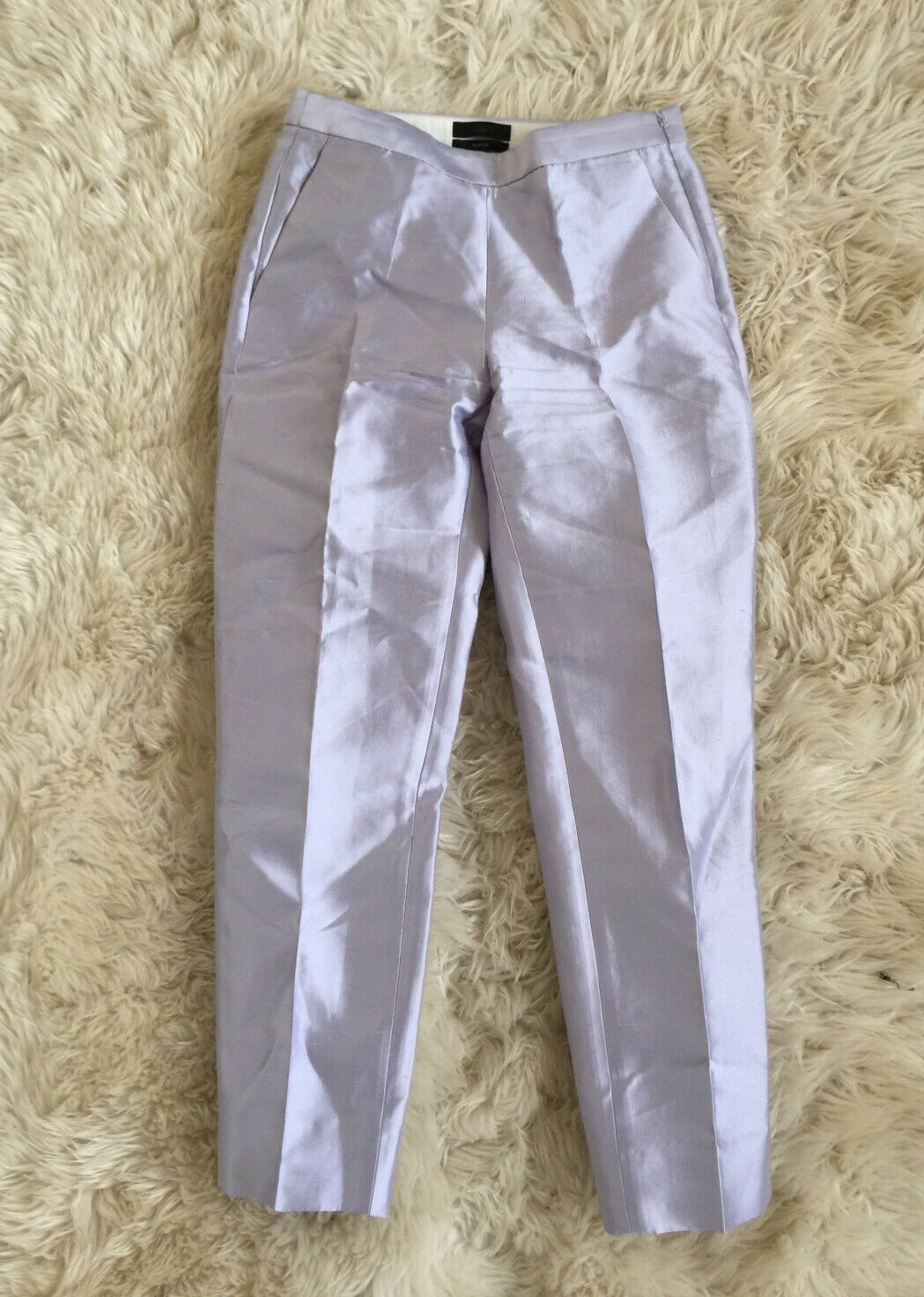 JCrew Collection Cigarette Pants In Heavy Shantung Wisteria 00 F2865   NEW