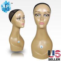 Realistic Plastic Female Mannequin Head Lifesize Display Wig Hat 18 C2