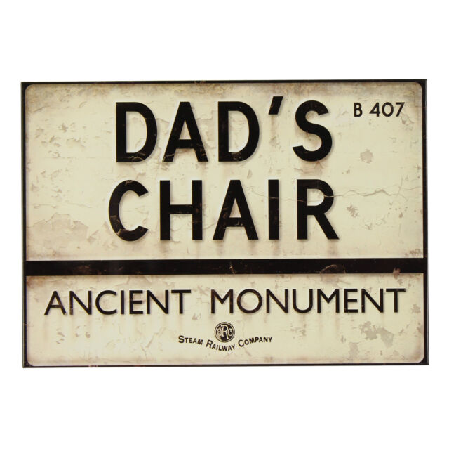 Steam Railway Company Metal Novelty Sign Plaque Dads Chair