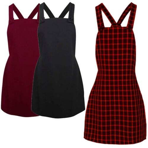 New Womens Pinafore Bodycon Tartan Midi Dress 8-14