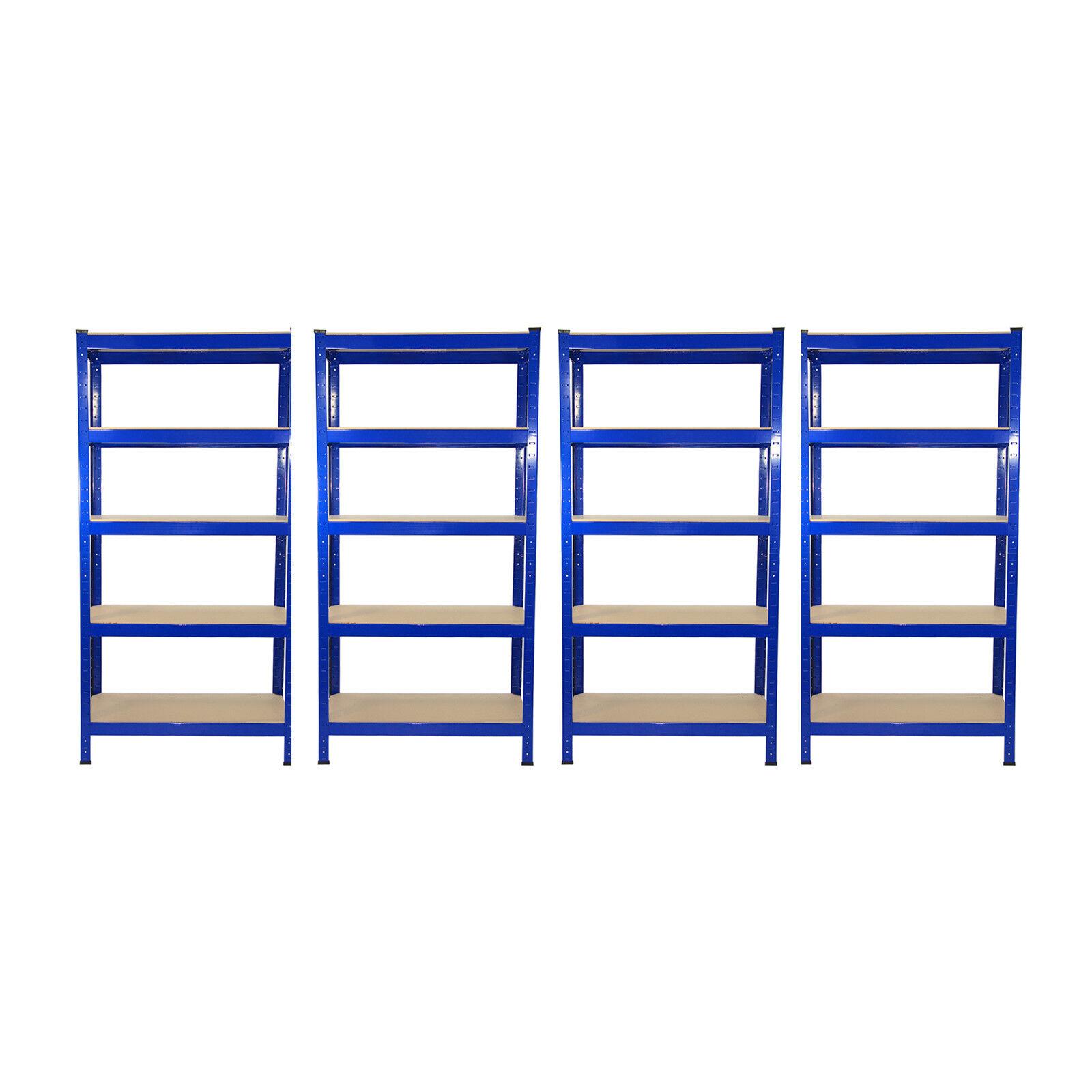 4 Garage Scaffalature Scaffalature In Acciaio Resistente Senza Bulloni a Warehouse Unità 5 Tier 75cm