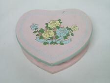 Wooden Pink Heart Jewelry Box w/ Floral Design / Wooden Box