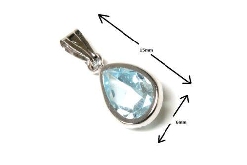 9ct Oro Blanco Topacio Azul Colgante y Cadena Collar en Caja De Regalo Hecho en Reino Unido