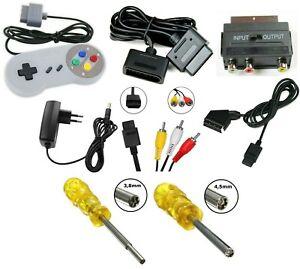 Super Nintendo SNES Zubehör Controller Netzteil Verlängerungskabel Cinch Kabel