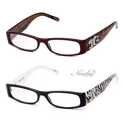 Slim Reading Glasses Animal Print Zebra Leopard Brown Frames Various Strengths
