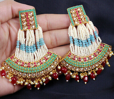 Hair & Head Jewelry Fashion Jewelry New Indian Bollywood Gold Plated Multi Colour Pearl Beads Earring Party Jewelry