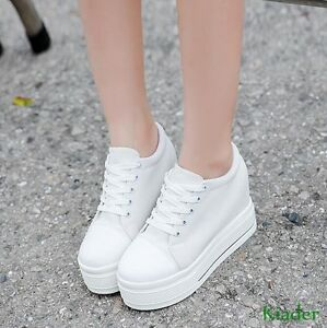 Women-Casual-Canvas-Platform-Hidden-Wedge-heels-l-Lace-up-Creepers-Sneakers-Shoe