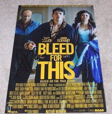 Humble Miles Teller Aaron Eckhart Signed 'bleed For This' 12x18 Movie Poster Photo Coa Entertainment Memorabilia Movies