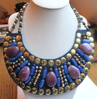 Important Collier Plastron Bijou Vintage Tissus Bleu Cabochon Perles Marbré Or Ampie Varietà