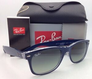Ray-Ban New Wayfarer RB 2132 6053/71 Sonnenbrille in blau/transparent 55/18 vwJMF