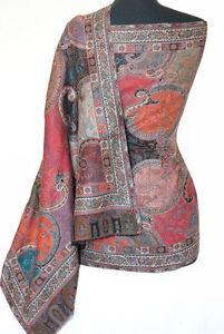 Very-Detailed-Kani-Wool-Shawl-Paisley-Jamavar-Stole-Red-Black-Wrap-Pashmina