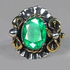 5.55CT 100% Natural 925 Silver Oval Zambian Emerald Vintage Ring CMDz2