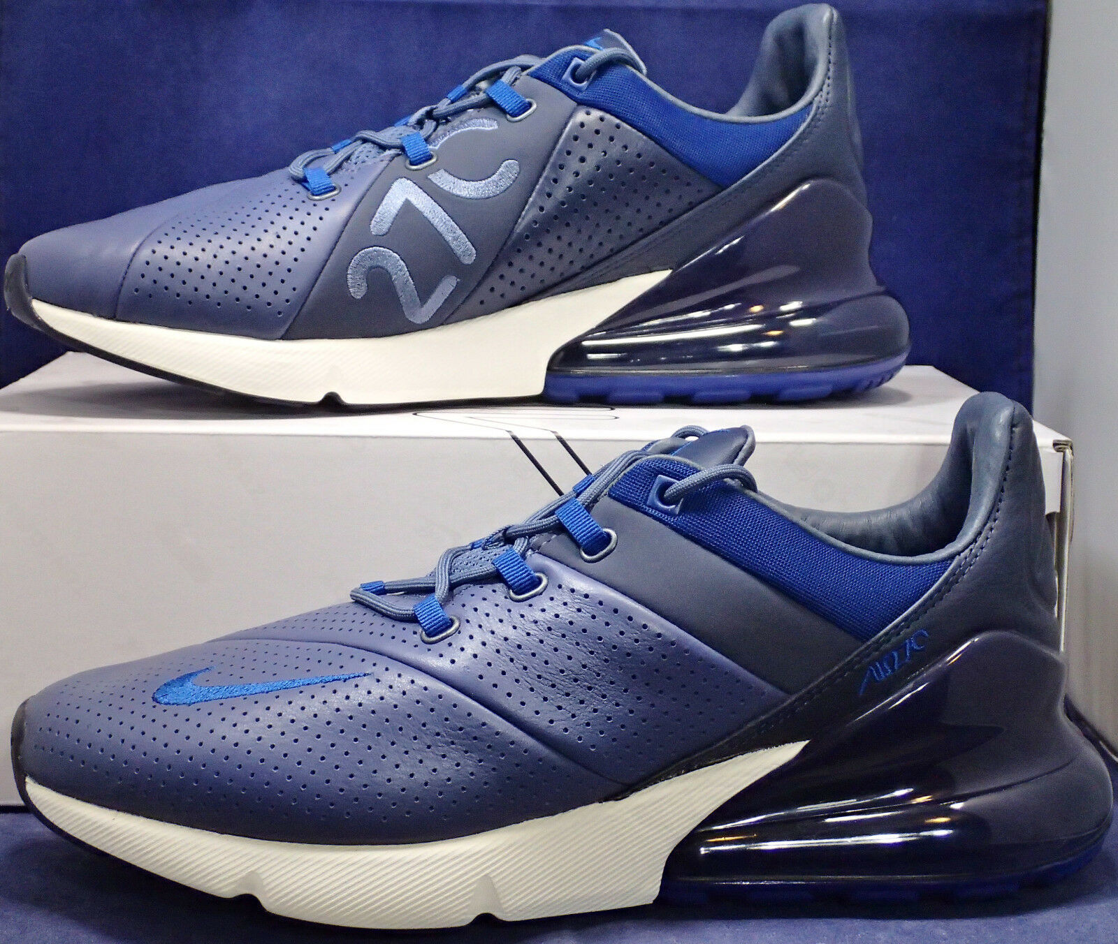 Nike Air Max 270 Premium Leather Diffused bluee Gym bluee Sail SZ 13 (AO8283-400)