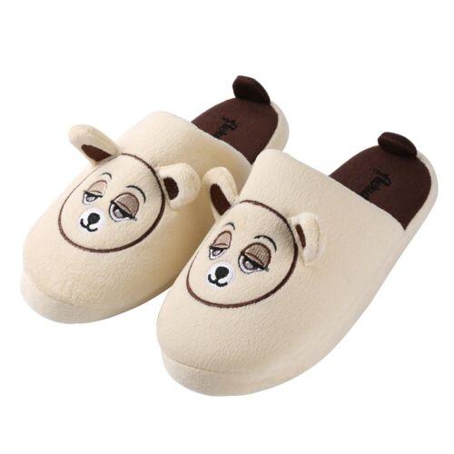 Aerusi Enfants Adulte Famille Hiver Chaud Intérieur Pantoufles Ours en peluche douce peluche Chaussures