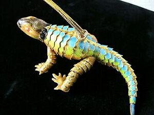 RARE-Wonderful-Vintage-Enamel-Lizard-Iguana-Ornament-Articulated-Body-5-034