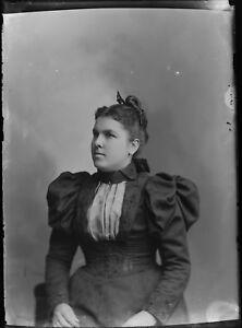 Antique-5x7-Glass-Plate-Negative-Woman-in-Elegant-Period-Dress-V69