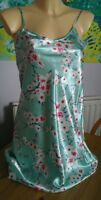 Green silky chemise size 8-10 with flower pattern knee length strappy top Bnwd