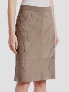 648.00 Elie Tahari Haley Genuine Lamb Suede Skirt Size 14 New