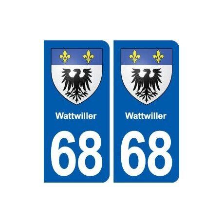 68 Wattwiller blason autocollant plaque stickers ville -  Angles : arrondis