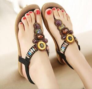 3a5c714a4f5 Women Summer Thong Sandals Rhinestone Beads T-strap Flip Flop Beach ...