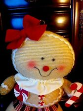 Gingerbread Girl Candy Cane Peppermint Plush Swirl Icing Wreath Centerpiece Deco