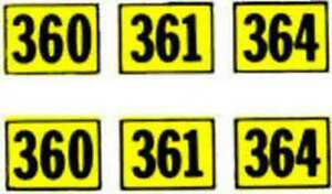 Details about 360 361 364 NUMBER WATER SLIDE DECAL for American Flyer ALCO  DIESEL Trains