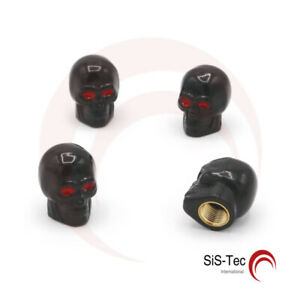 4-Piece-Valve-A-Ventilation-Noir-Tete-de-Mort-avec-Joint-pour-Voiture-Moto-Velo