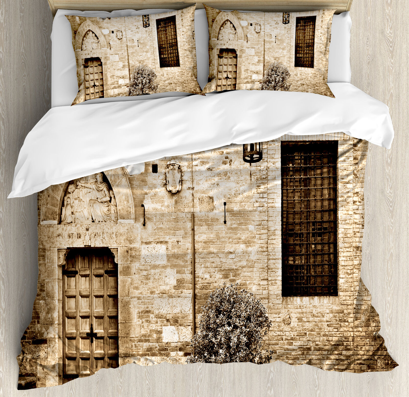 Rustic King Dimensione Duvet Cover Set Stone House Sepia View with 2 Pillow Shams