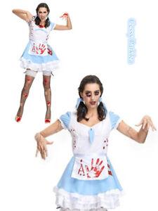 F3 Zombie Bloody Mad Alice in Wonderland Fancy Dress Horror Halloween Costume - eBay