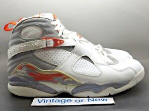 wholesale dealer e32ce dc877 ... czech image is loading air jordan viii 8 white stealth orange blaze  29e68 0ab2b