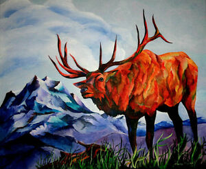 King-of-the-Hill-Original-20x24-ELK-Art-Painting-on-canvas-Sherry-Shipley