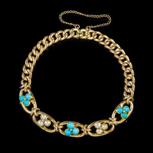 ANTIQUE-VICTORIAN-TURQUOISE-PEARL-SHAMROCK-CURB-BRACELET-15CT-GOLD-CIRCA-1880