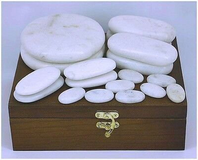 WHITE JADE 18-PIECE HOT/COLD STONE MASSAGE SET .... NEW