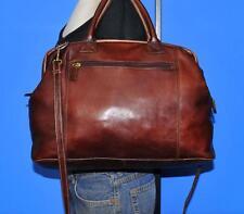 J.JILL LARGE Brown Leather Messenger Doctor Satchel Overnight Weekender Tote Bag