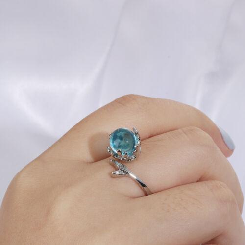 null verstellbare größe blue crystal silber farbe meerjungfrau blase ringe