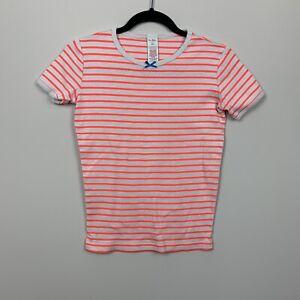 Pink and White Stripe Girls Short Sleeve T Shirt