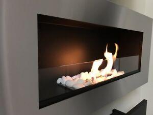 wandkamin gel und bio ethanol kamin stahl stahlgeschliffen mit glasscheibe neu ebay. Black Bedroom Furniture Sets. Home Design Ideas