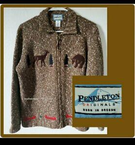 Pendleton Originals Vintage Full Zip Jacket Sweater Wool Cotton Animals Canoe M Ebay