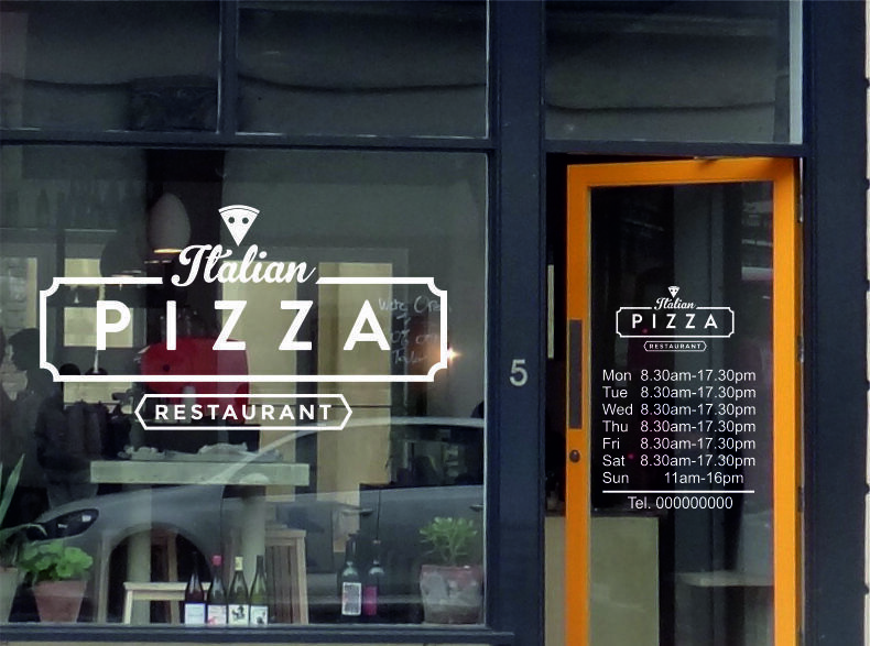Pizza Italian Shop Opening Times Set Window Graphic Door Sign Vinyl  Stickers