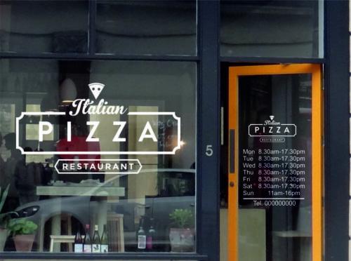 Pizza Italien Shop opennig Time Set Fenêtre Porte Signe Vinyle Decal Sticker