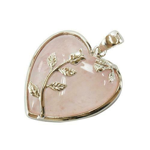 Leafy Heart Charm//Pendant Quartz Pink 35mm   Accessory Jewellery Making Crafts