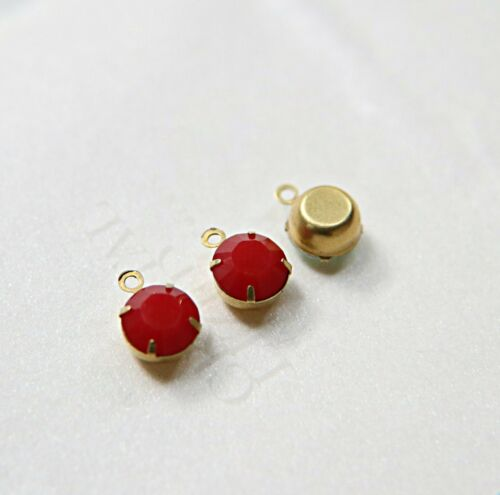 Swarovski 7mm Round setting drop one loop in Dark Coral Red 34ss 396 50 Pieces