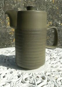 Vintage-Denby-Chevron-Green-12-Bands-Coffee-Pot-Hot-Water-Jug-with-Lid-1-3-4-PT