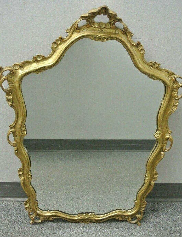 Vintage Ornate Mirror Gold Frame Plastic Italy Rectangle For Sale Online Ebay
