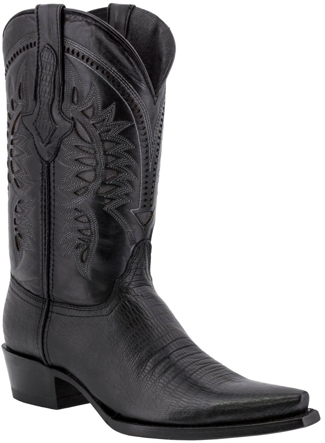 Mens Black Lizard Print Leather Cowboy Boots Casual Dress Pointed Toe
