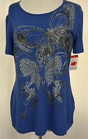 Initiatives Painted Metallic Butterfly Front Stretch Black Lace Top Size M