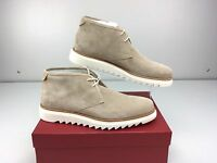 Salvatore Ferragamo Lagos Seppia Beige Buc Suede Chukka Boots Men's Size 11 D