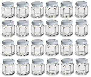 0894e2bddf91 Details about 24 pcs 1.5 oz Mini Hexagon Glass Jars w/ White Plastisol  Lined Lids 45 ml favor